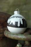 Weihnachtskugeln mit Skyline Ruhrgebiet 10cm weiß matt-schwarz